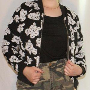 Black and white rose printed jacket